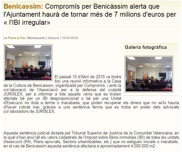 Laplanaaldia sobre el IBI de Benicasim y Jurislex